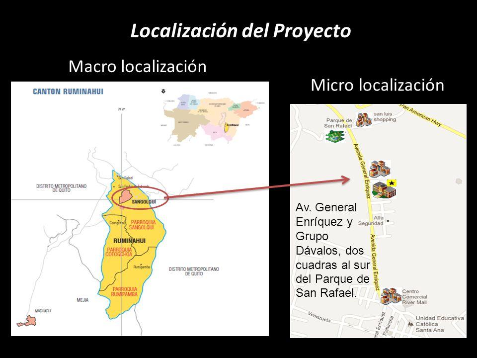 Localización del Proyecto Macro localización Micro localización Av. General Enríquez y Grupo Dávalos, dos cuadras al sur del Parque de San Rafael.