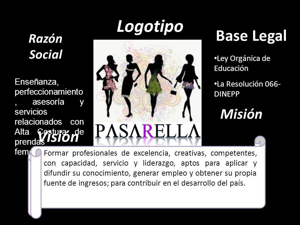 Logotipo Slogan Un paso a la perfección Enseñanza, perfeccionamiento, asesoría y servicios relacionados con Alta Costura de prendas femeninas Razón So