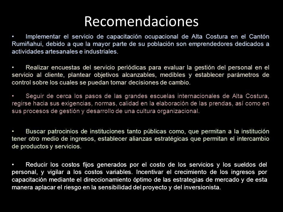 Recomendaciones Implementar el servicio de capacitación ocupacional de Alta Costura en el Cantón Rumiñahui, debido a que la mayor parte de su població