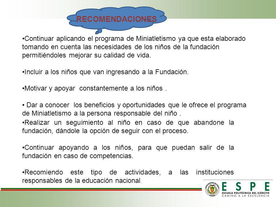 Continuar aplicando el programa de Miniatletismo ya que esta elaborado tomando en cuenta las necesidades de los niños de la fundación permitiéndoles mejorar su calidad de vida.