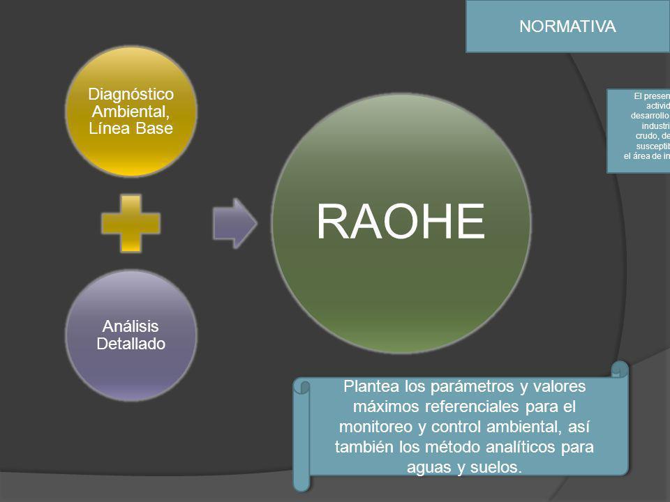 NORMATIVA Diagnóstico Ambiental, Línea Base Análisis Detallado RAOHE El presente Reglamento tiene por objeto regular las actividades hidrocarburíferas