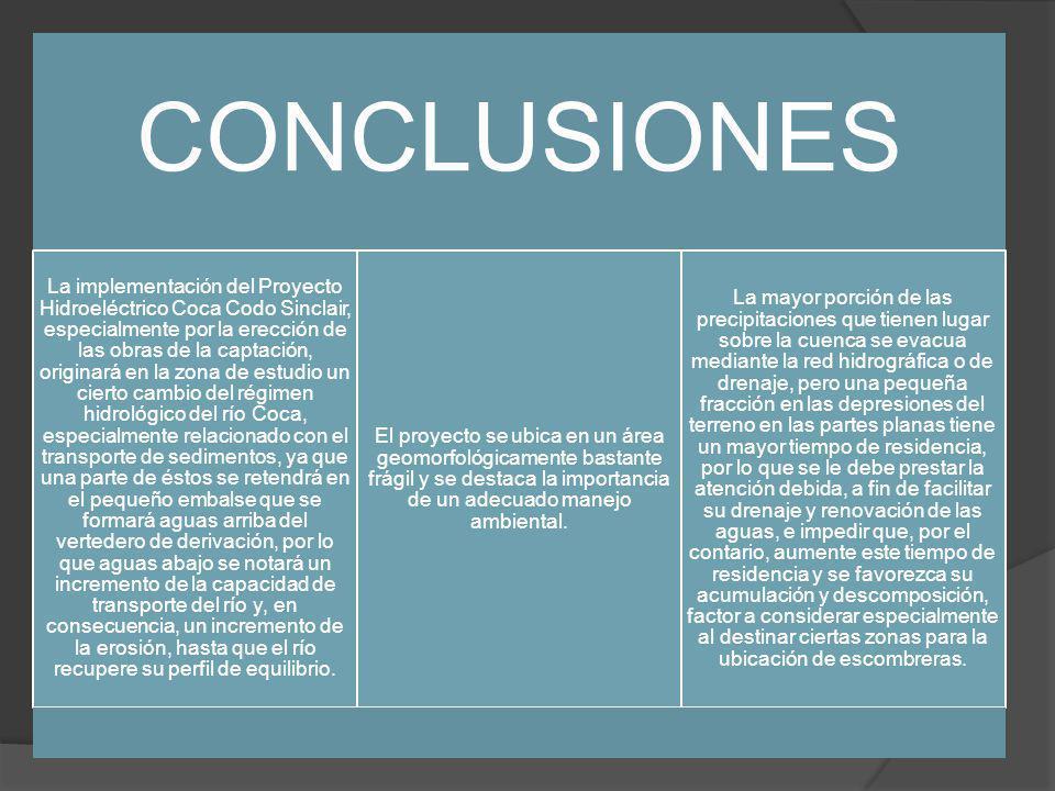 CONCLUSIONES La implementación del Proyecto Hidroeléctrico Coca Codo Sinclair, especialmente por la erección de las obras de la captación, originará en la zona de estudio un cierto cambio del régimen hidrológico del río Coca, especialmente relacionado con el transporte de sedimentos, ya que una parte de éstos se retendrá en el pequeño embalse que se formará aguas arriba del vertedero de derivación, por lo que aguas abajo se notará un incremento de la capacidad de transporte del río y, en consecuencia, un incremento de la erosión, hasta que el río recupere su perfil de equilibrio.