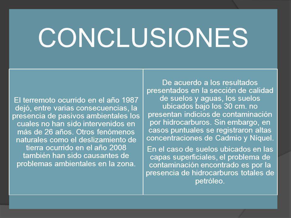 CONCLUSIONES El terremoto ocurrido en el año 1987 dejó, entre varias consecuencias, la presencia de pasivos ambientales los cuales no han sido intervenidos en más de 26 años.