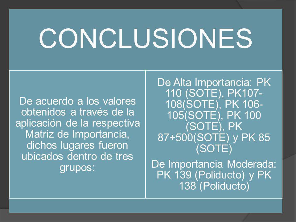 CONCLUSIONES De acuerdo a los valores obtenidos a través de la aplicación de la respectiva Matriz de Importancia, dichos lugares fueron ubicados dentro de tres grupos: De Alta Importancia: PK 110 (SOTE), PK107- 108(SOTE), PK 106- 105(SOTE), PK 100 (SOTE), PK 87+500(SOTE) y PK 85 (SOTE) De Importancia Moderada: PK 139 (Poliducto) y PK 138 (Poliducto)