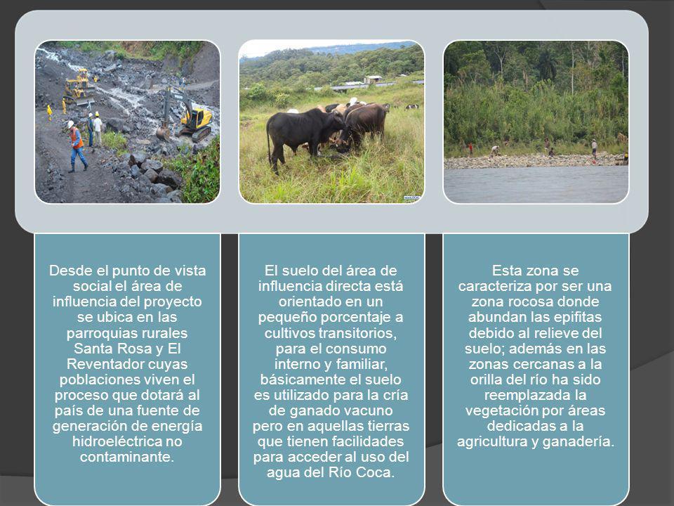 Desde el punto de vista social el área de influencia del proyecto se ubica en las parroquias rurales Santa Rosa y El Reventador cuyas poblaciones vive