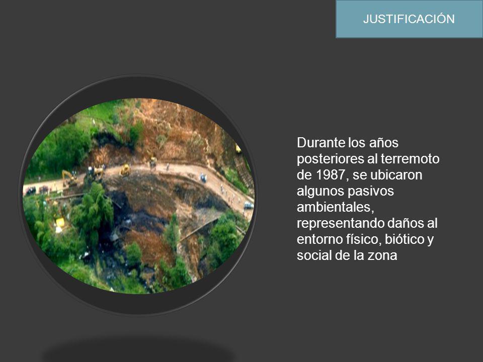 JUSTIFICACIÓN Durante los años posteriores al terremoto de 1987, se ubicaron algunos pasivos ambientales, representando daños al entorno físico, biótico y social de la zona