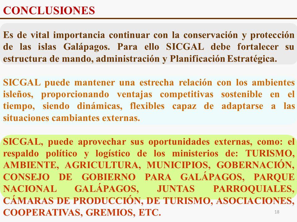 Es de vital importancia continuar con la conservación y protección de las islas Galápagos. Para ello SICGAL debe fortalecer su estructura de mando, ad