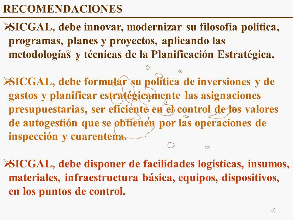 RECOMENDACIONES SICGAL, debe innovar, modernizar su filosofía política, programas, planes y proyectos, aplicando las metodologías y técnicas de la Planificación Estratégica.