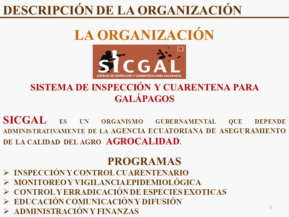 DESCRIPCIÓN DE LA ORGANIZACIÓN LA ORGANIZACIÓN SISTEMA DE INSPECCIÓN Y CUARENTENA PARA GALÁPAGOS SICGAL ES UN ORGANISMO GUBERNAMENTAL QUE DEPENDE ADMINISTRATIVAMENTE DE LA AGENCIA ECUATORIANA DE ASEGURAMIENTO DE LA CALIDAD DEL AGRO AGROCALIDAD.