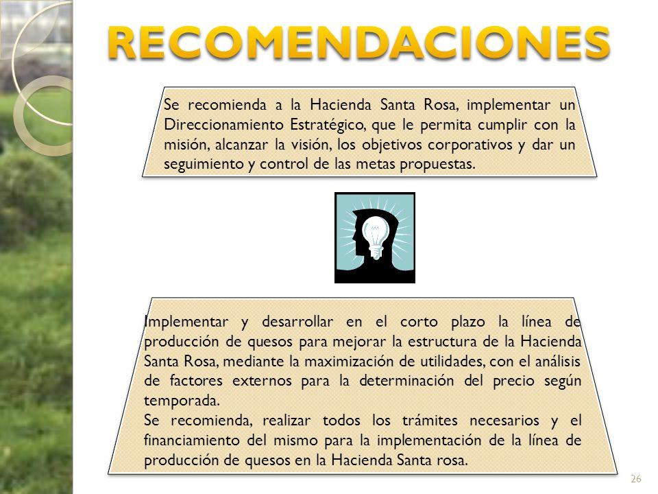 26 Se recomienda a la Hacienda Santa Rosa, implementar un Direccionamiento Estratégico, que le permita cumplir con la misión, alcanzar la visión, los