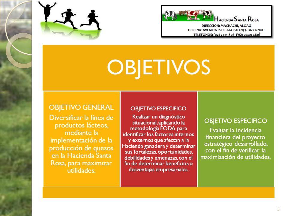 OBJETIVOS OBJETIVO GENERAL Diversificar la línea de productos lácteos, mediante la implementación de la producción de quesos en la Hacienda Santa Rosa