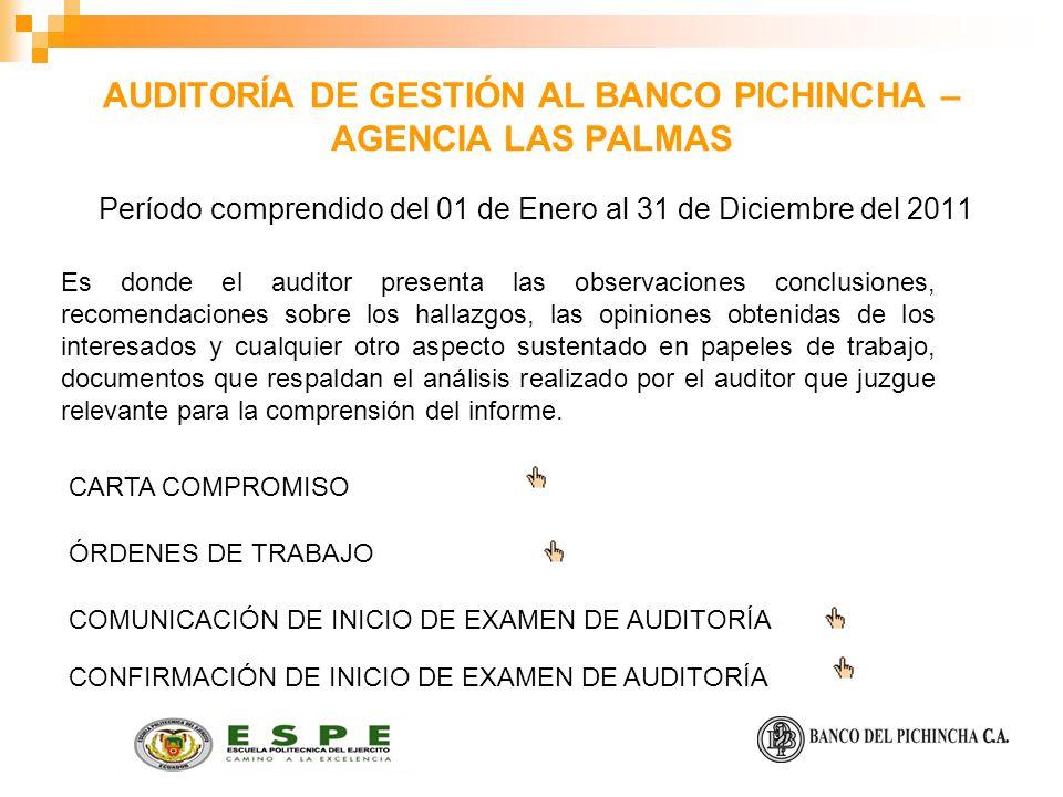 AUDITORÍA DE GESTIÓN AL BANCO PICHINCHA – AGENCIA LAS PALMAS Es donde el auditor presenta las observaciones conclusiones, recomendaciones sobre los ha