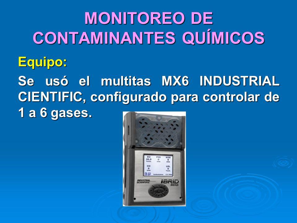 MONITOREO DE CONTAMINANTES QUÍMICOS Equipo: Se usó el multitas MX6 INDUSTRIAL CIENTIFIC, configurado para controlar de 1 a 6 gases.