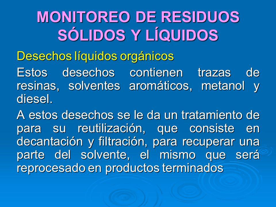 MONITOREO DE RESIDUOS SÓLIDOS Y LÍQUIDOS Desechos líquidos orgánicos Estos desechos contienen trazas de resinas, solventes aromáticos, metanol y diese
