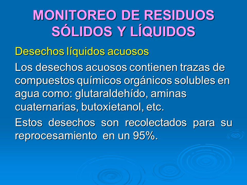 MONITOREO DE RESIDUOS SÓLIDOS Y LÍQUIDOS Desechos líquidos acuosos Los desechos acuosos contienen trazas de compuestos químicos orgánicos solubles en