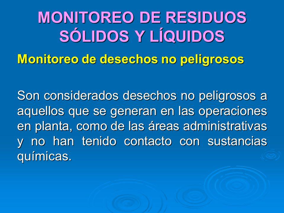 MONITOREO DE RESIDUOS SÓLIDOS Y LÍQUIDOS Monitoreo de desechos no peligrosos Son considerados desechos no peligrosos a aquellos que se generan en las