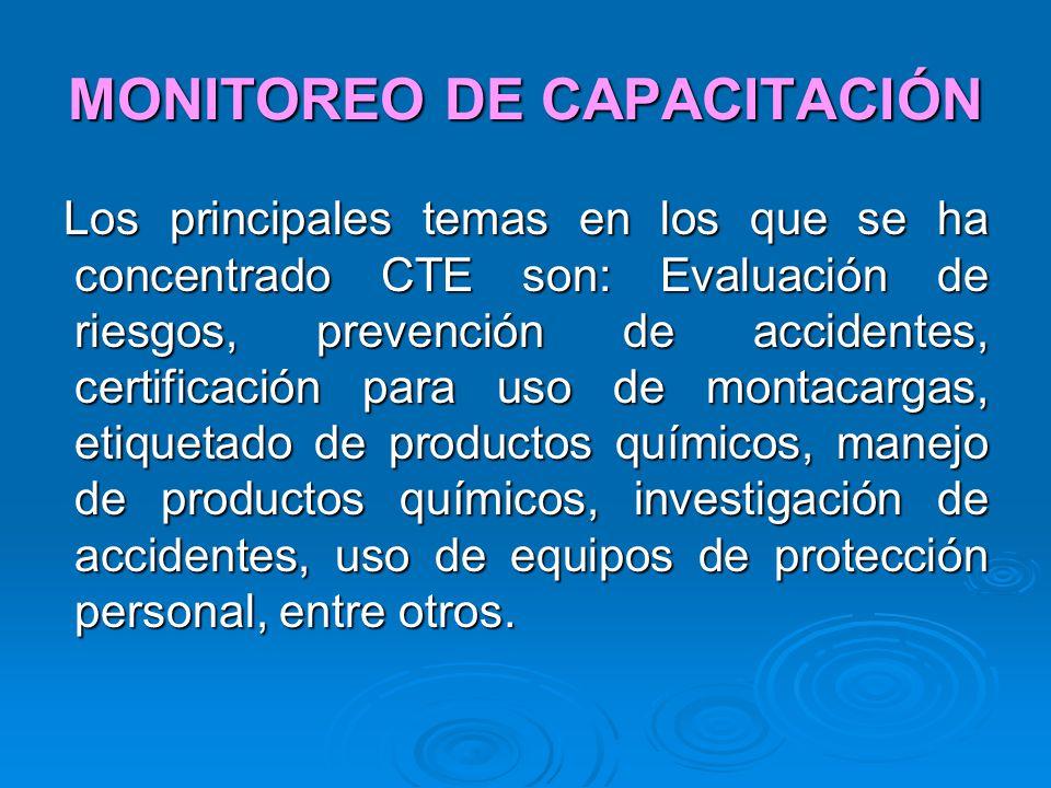 MONITOREO DE CAPACITACIÓN Los principales temas en los que se ha concentrado CTE son: Evaluación de riesgos, prevención de accidentes, certificación p