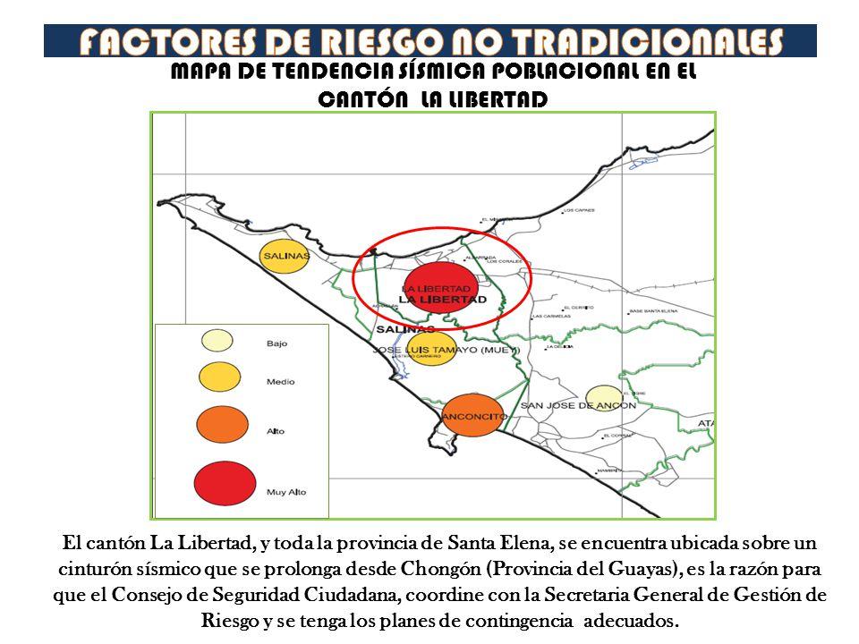 MAPA DE TENDENCIA SÍSMICA POBLACIONAL EN EL CANTÓN LA LIBERTAD El cantón La Libertad, y toda la provincia de Santa Elena, se encuentra ubicada sobre u