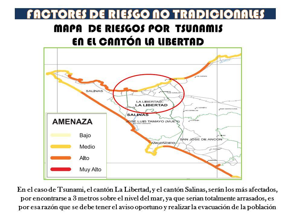 MAPA DE RIESGOS POR TSUNAMIS EN EL CANTÓN LA LIBERTAD En el caso de Tsunami, el cantón La Libertad, y el cantón Salinas, serán los más afectados, por