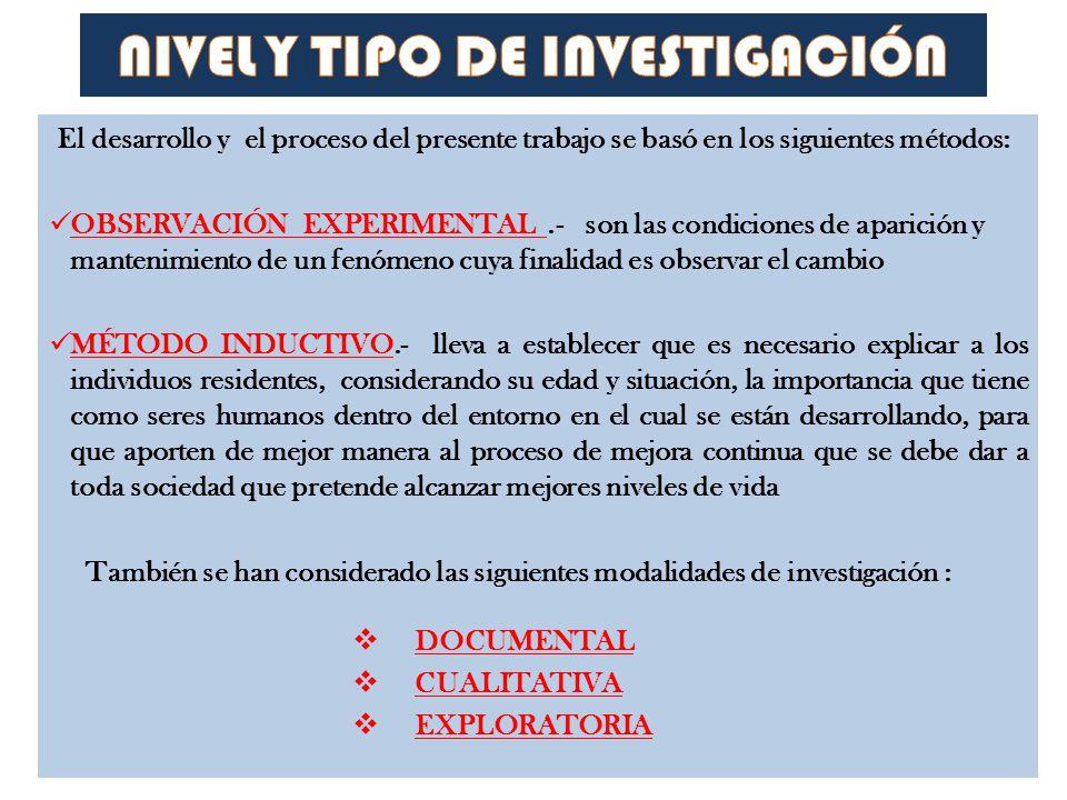 El desarrollo y el proceso del presente trabajo se basó en los siguientes métodos: OBSERVACIÓN EXPERIMENTAL.- son las condiciones de aparición y mante