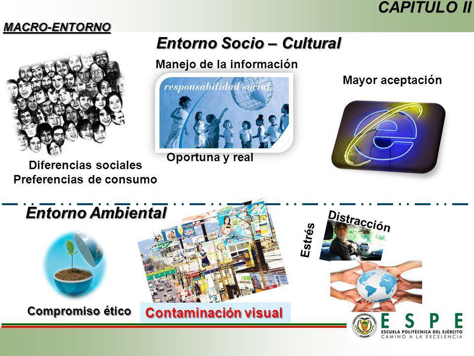 Entorno Socio – Cultural CAPITULO II MACRO-ENTORNO Diferencias sociales Preferencias de consumo Manejo de la información Oportuna y real Mayor aceptac