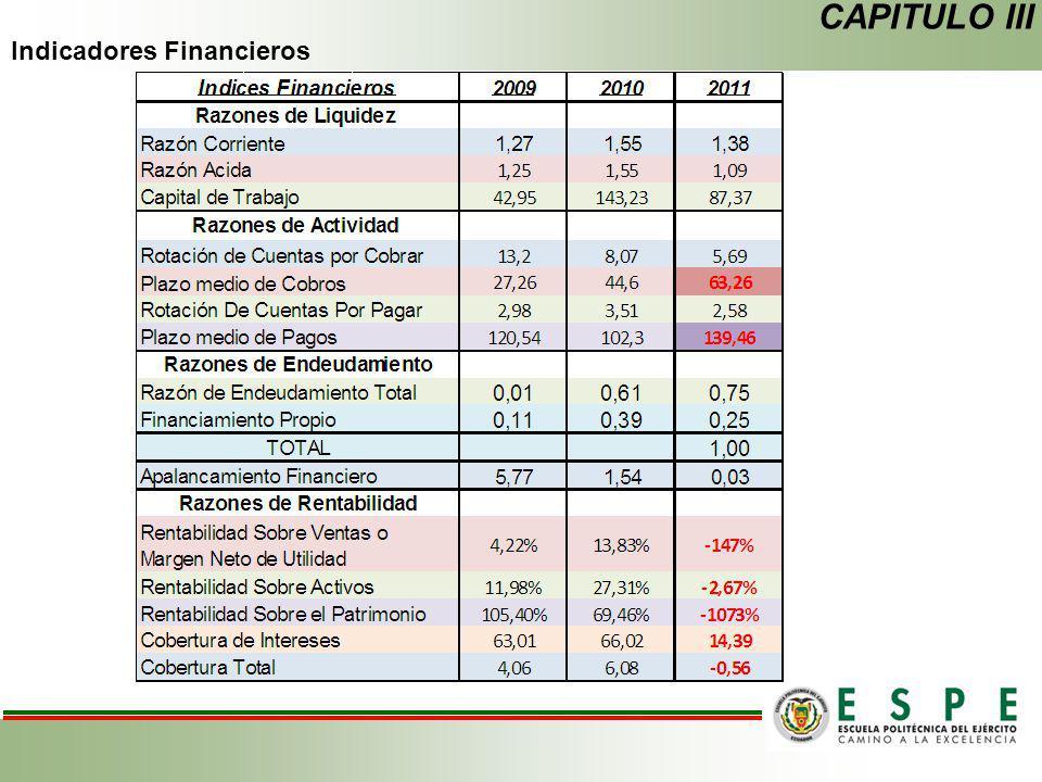 Indicadores Financieros CAPITULO III