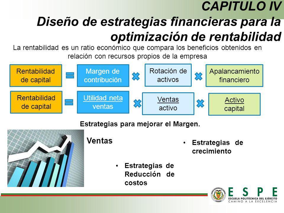 CAPITULO IV Diseño de estrategias financieras para la optimización de rentabilidad Estrategias para mejorar el Margen. La rentabilidad es un ratio eco