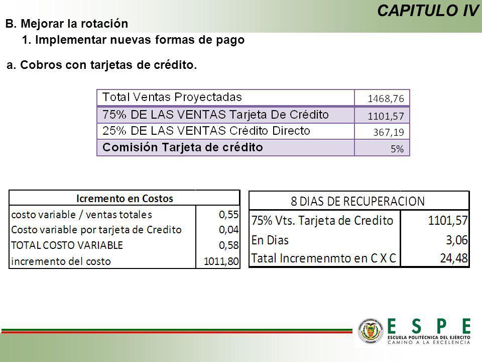 B. Mejorar la rotación 1. Implementar nuevas formas de pago a. Cobros con tarjetas de crédito. CAPITULO IV