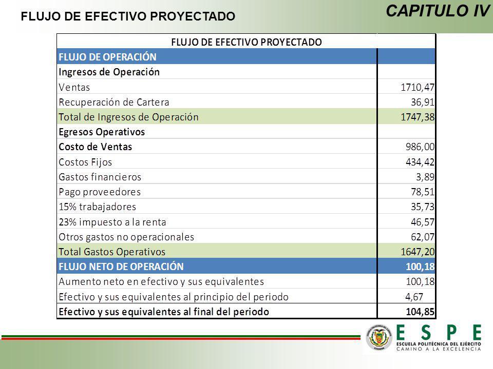 FLUJO DE EFECTIVO PROYECTADO CAPITULO IV