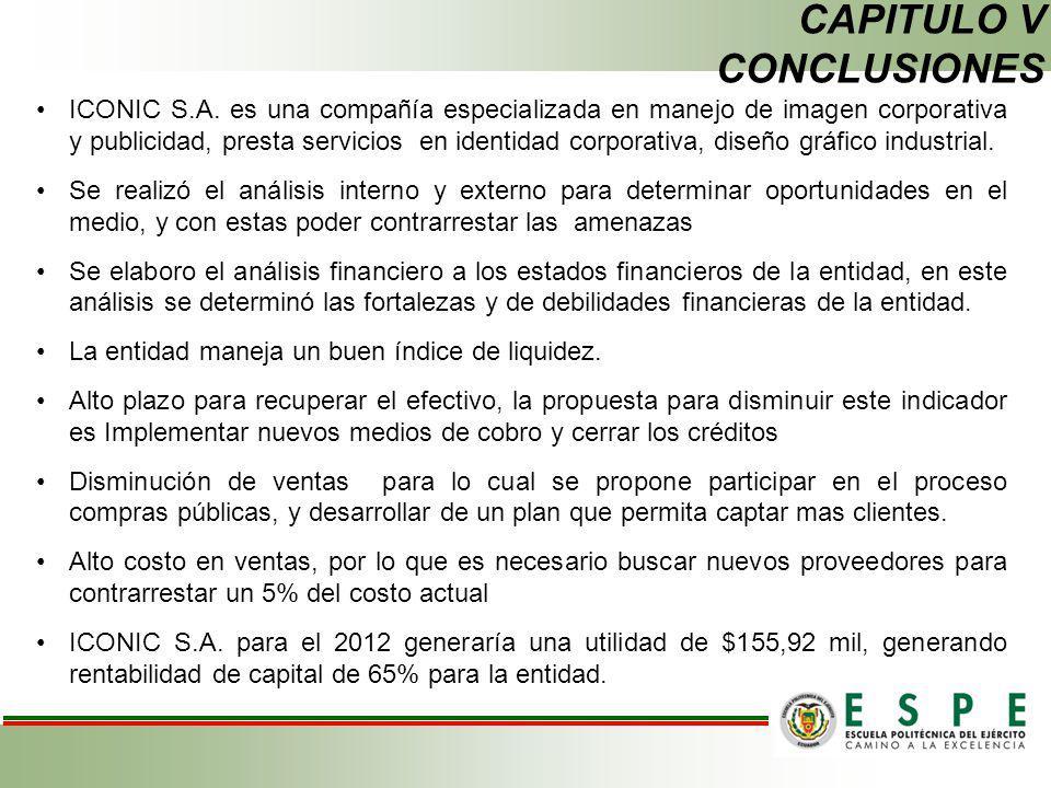 CAPITULO V CONCLUSIONES ICONIC S.A. es una compañía especializada en manejo de imagen corporativa y publicidad, presta servicios en identidad corporat