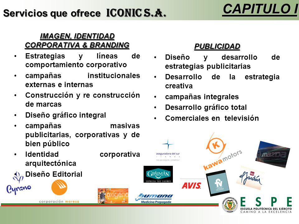 Servicios que ofrece ICONIC S.A. CAPITULO I IMAGEN, IDENTIDAD CORPORATIVA & BRANDING Estrategias y líneas de comportamiento corporativo campañas insti