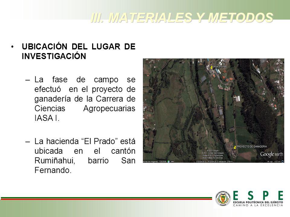 III. MATERIALES Y METODOS UBICACIÓN DEL LUGAR DE INVESTIGACIÓN –La fase de campo se efectuó en el proyecto de ganadería de la Carrera de Ciencias Agro