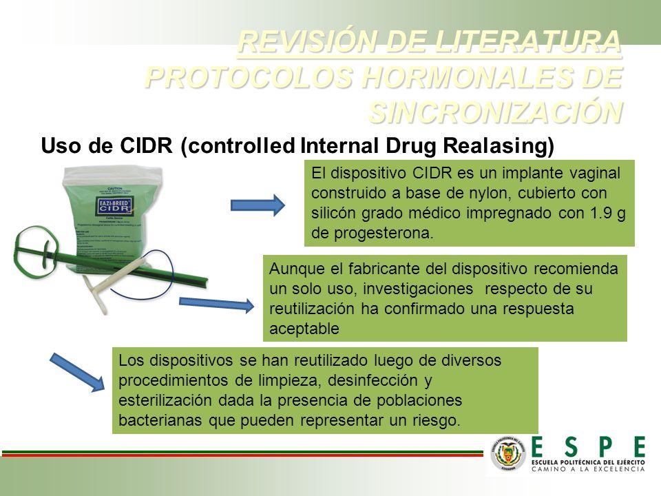 REVISIÓN DE LITERATURA PROTOCOLOS HORMONALES DE SINCRONIZACIÓN Uso de CIDR (controlled Internal Drug Realasing) El dispositivo CIDR es un implante vag