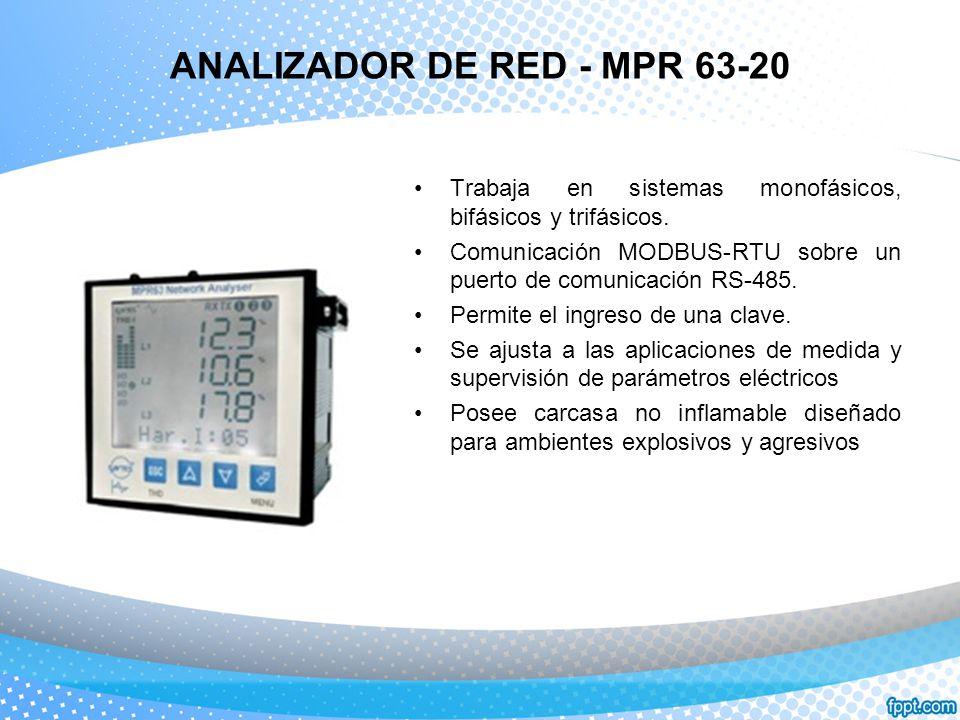 ANALIZADOR DE RED - MPR 63-20 Trabaja en sistemas monofásicos, bifásicos y trifásicos. Comunicación MODBUS-RTU sobre un puerto de comunicación RS-485.