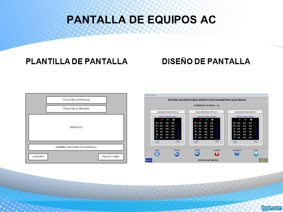 PANTALLA DE EQUIPOS AC PLANTILLA DE PANTALLADISEÑO DE PANTALLA