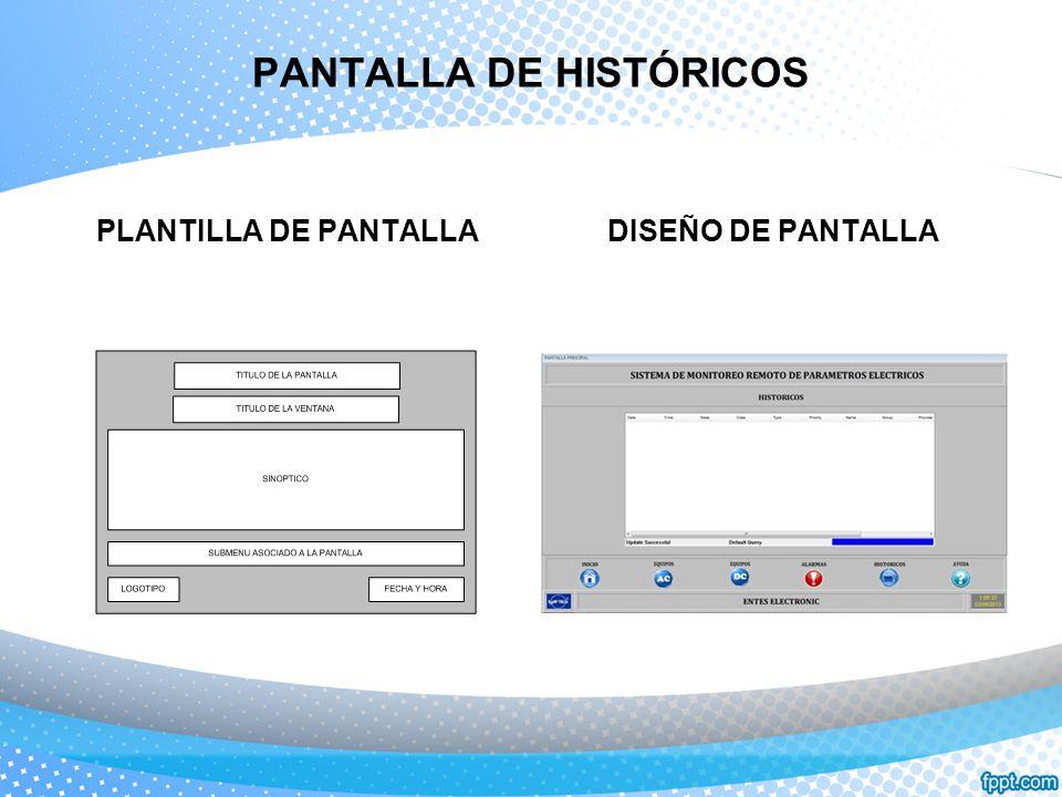 PANTALLA DE HISTÓRICOS PLANTILLA DE PANTALLADISEÑO DE PANTALLA