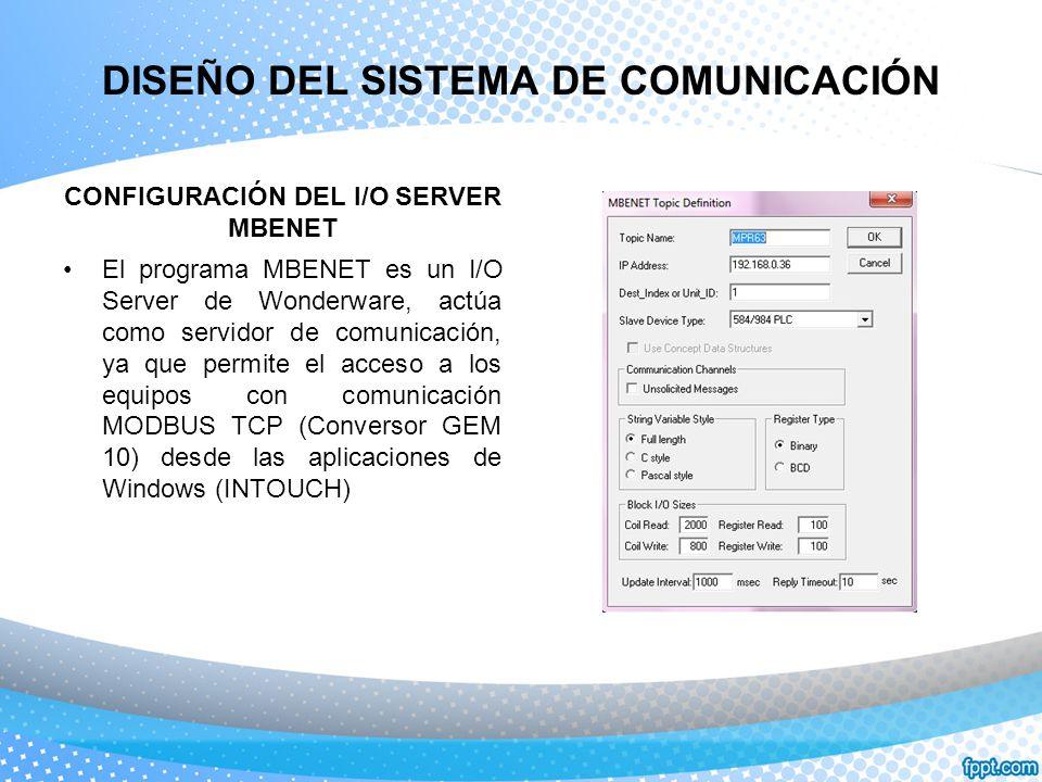 DISEÑO DEL SISTEMA DE COMUNICACIÓN CONFIGURACIÓN DEL I/O SERVER MBENET El programa MBENET es un I/O Server de Wonderware, actúa como servidor de comun