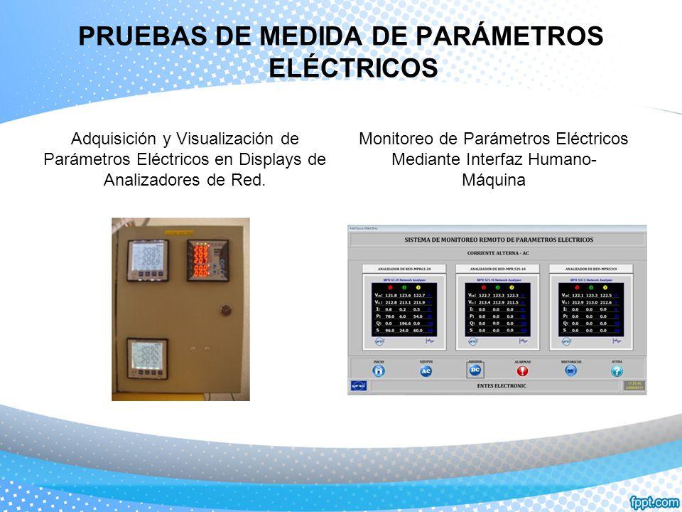 PRUEBAS DE MEDIDA DE PARÁMETROS ELÉCTRICOS Adquisición y Visualización de Parámetros Eléctricos en Displays de Analizadores de Red. Monitoreo de Parám