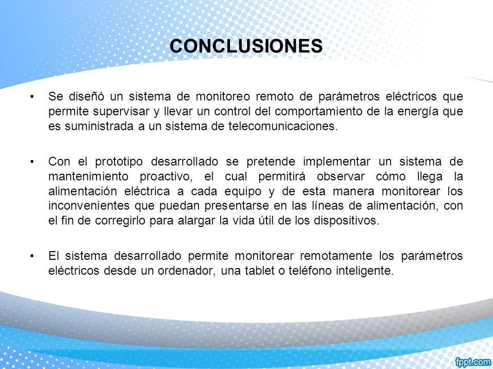 CONCLUSIONES Se diseñó un sistema de monitoreo remoto de parámetros eléctricos que permite supervisar y llevar un control del comportamiento de la ene