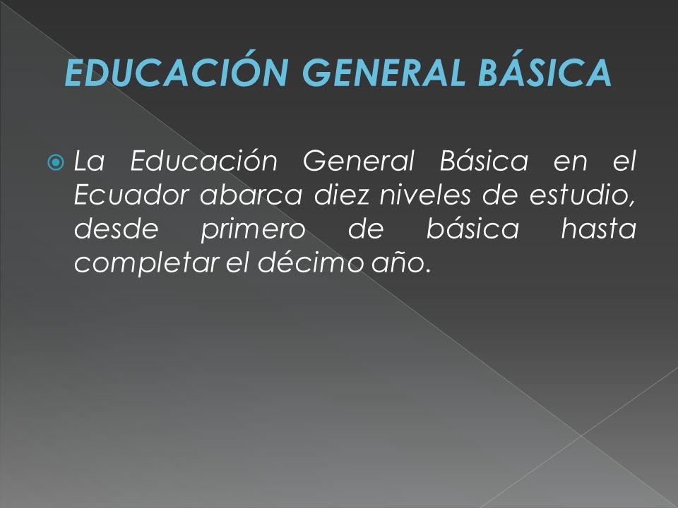 EDUCACIÓN GENERAL BÁSICA La Educación General Básica en el Ecuador abarca diez niveles de estudio, desde primero de básica hasta completar el décimo a
