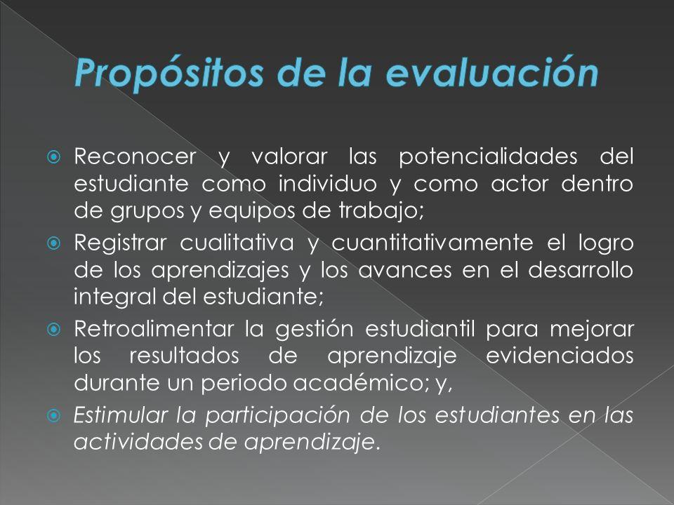 Reconocer y valorar las potencialidades del estudiante como individuo y como actor dentro de grupos y equipos de trabajo; Registrar cualitativa y cuan