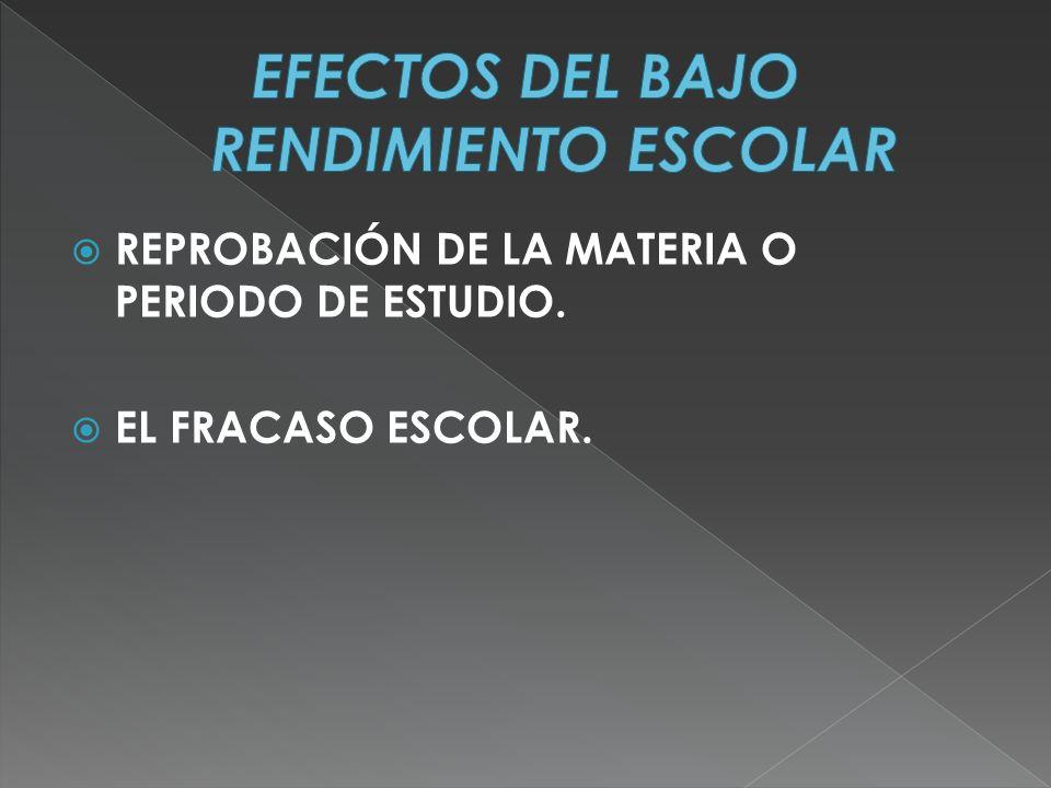 REPROBACIÓN DE LA MATERIA O PERIODO DE ESTUDIO. EL FRACASO ESCOLAR.