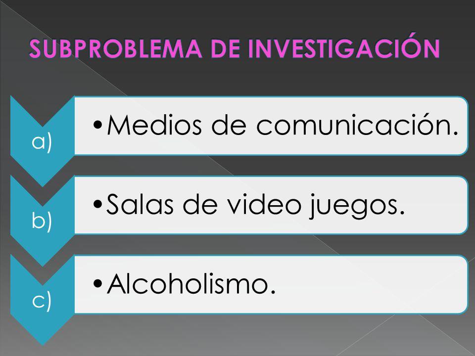 a) Medios de comunicación. b) Salas de video juegos. c) Alcoholismo.