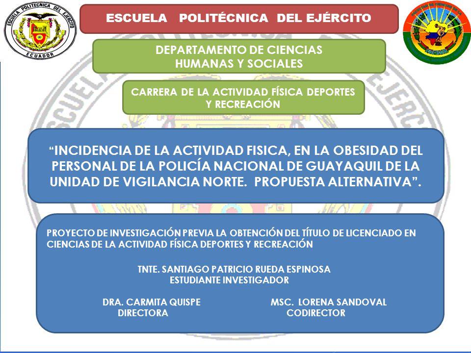 ESCUELA POLITÉCNICA DEL EJÉRCITO DEPARTAMENTO DE CIENCIAS HUMANAS Y SOCIALES CARRERA DE LA ACTIVIDAD FÍSICA DEPORTES Y RECREACIÓN INCIDENCIA DE LA ACTIVIDAD FISICA, EN LA OBESIDAD DEL PERSONAL DE LA POLICÍA NACIONAL DE GUAYAQUIL DE LA UNIDAD DE VIGILANCIA NORTE.