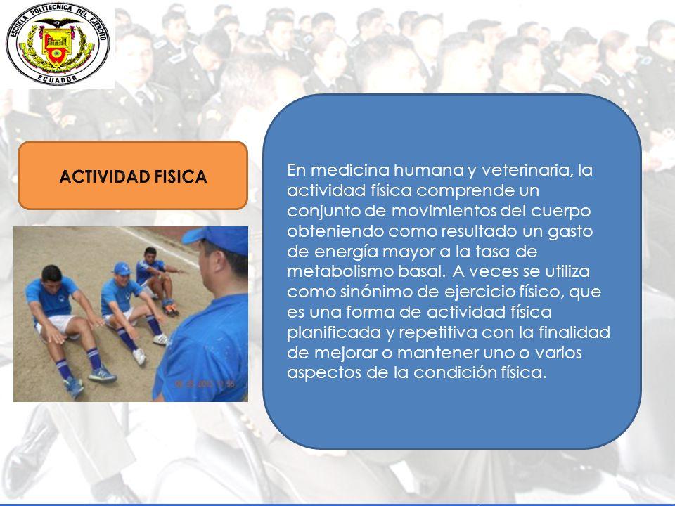 En medicina humana y veterinaria, la actividad física comprende un conjunto de movimientos del cuerpo obteniendo como resultado un gasto de energía mayor a la tasa de metabolismo basal.