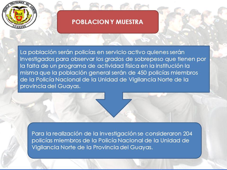 POBLACION Y MUESTRA La población serán policías en servicio activo quienes serán investigados para observar los grados de sobrepeso que tienen por la falta de un programa de actividad física en la institución la misma que la población general serán de 450 policías miembros de la Policía Nacional de la Unidad de Vigilancia Norte de la provincia del Guayas.