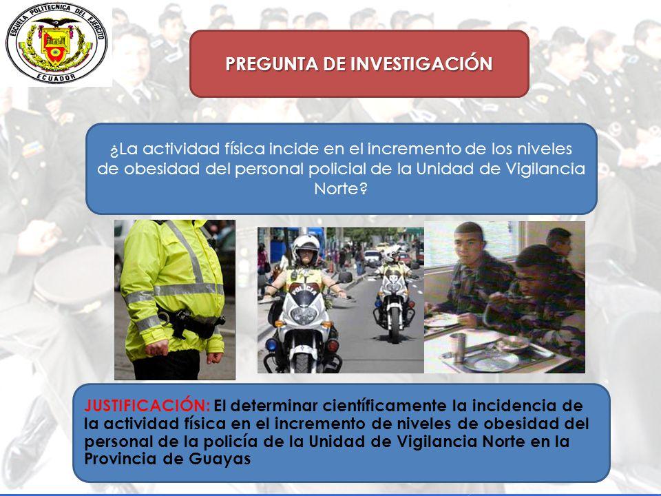PREGUNTA DE INVESTIGACIÓN ¿La actividad física incide en el incremento de los niveles de obesidad del personal policial de la Unidad de Vigilancia Norte.