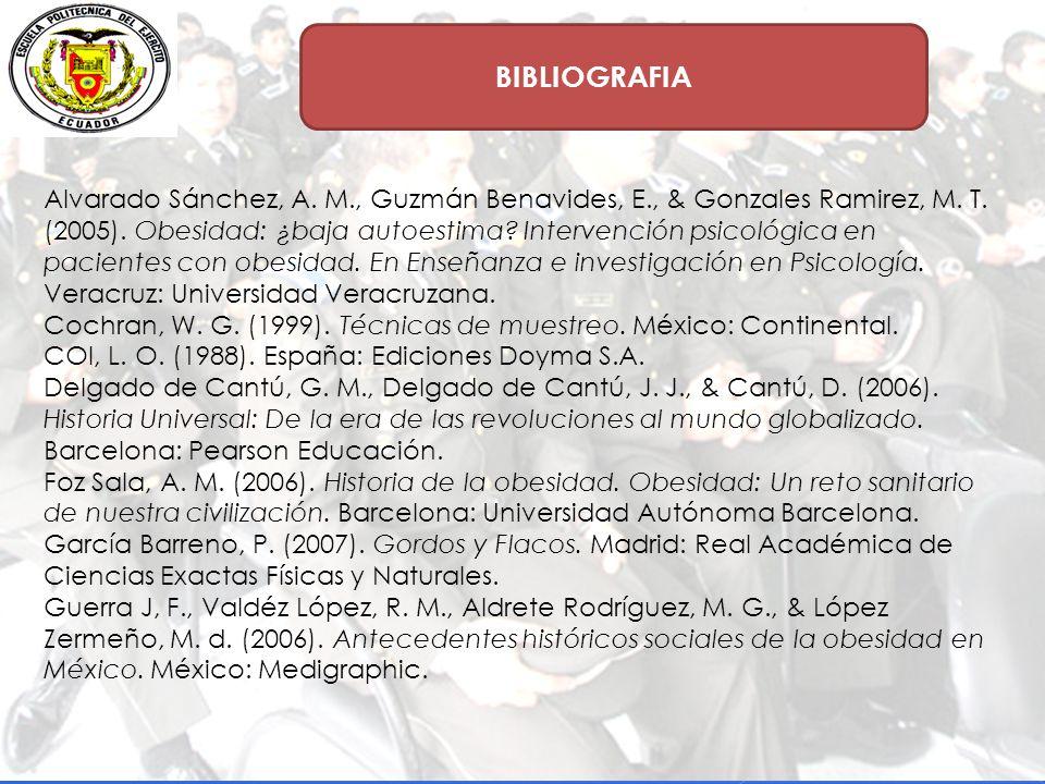 BIBLIOGRAFIA Alvarado Sánchez, A.M., Guzmán Benavides, E., & Gonzales Ramirez, M.