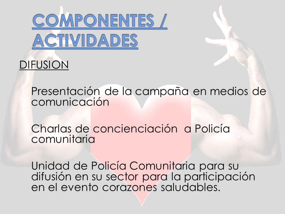 DIFUSION Presentación de la campaña en medios de comunicación Charlas de concienciación a Policía comunitaria Unidad de Policía Comunitaria para su difusión en su sector para la participación en el evento corazones saludables.