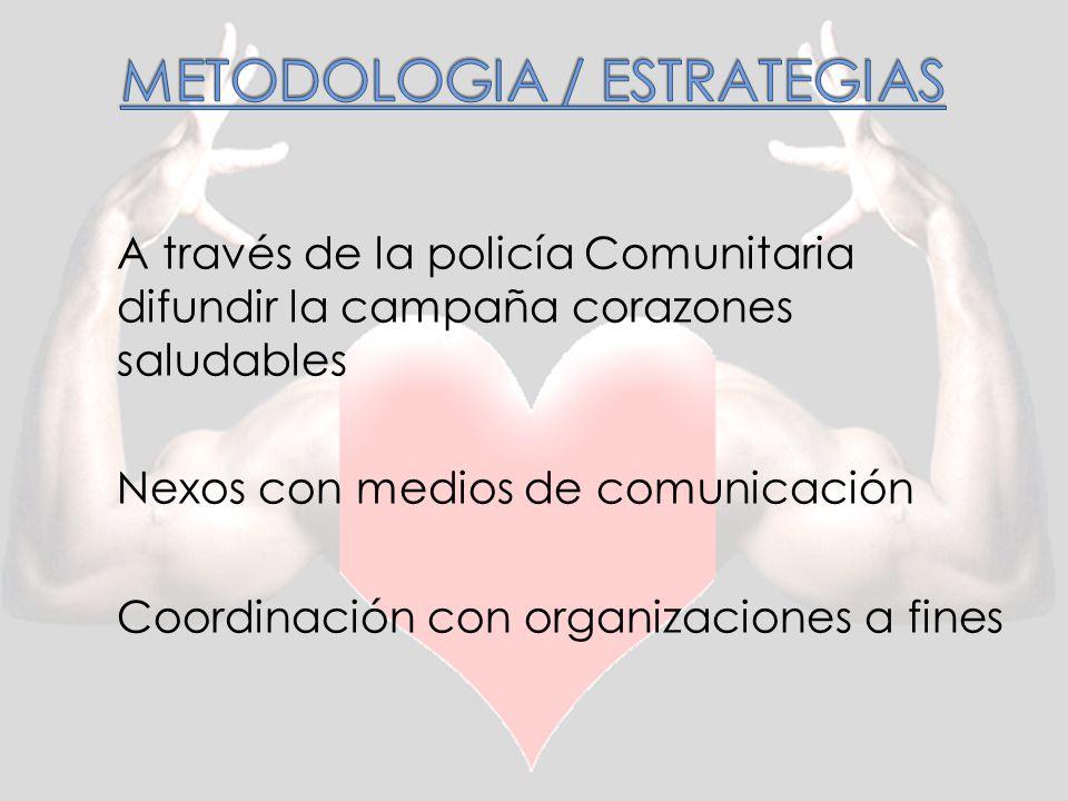 A través de la policía Comunitaria difundir la campaña corazones saludables Nexos con medios de comunicación Coordinación con organizaciones a fines